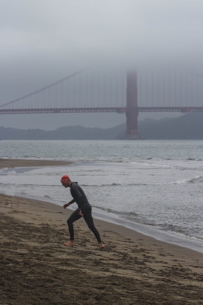 gabe grasso leaving the water in the alcatraz challenge